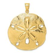 14k 14kt Yellow Gold Polished Large Sand Dollar Charm Pendant 36.9 Mm X 38.2 Mm