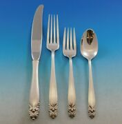 King Christian By Wallace Sterling Silver Flatware Set For 12 Service 48 Pieces