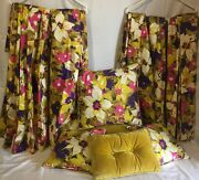 Vintage 60s Lined Drapes And Pillows Pop Art Floral Mid Century Modern