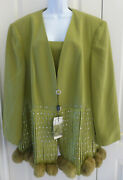 Womens Dinner Evening Jacket By Milano, Green, Size 30w, Nwt