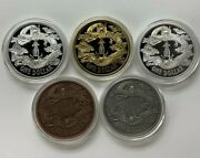 China 5 Pieces Medals Set - Restrike Of Big Tail Dragon Da Qing Silver Coin