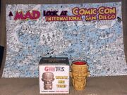 Sdcc 2018 Mad Magazine A Look At Comic Con Poster And Geeki Tiki Shot Glass Rare