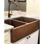 Farmhouse Sink Apron Hammered Solid Copper 33 In Handcrafted Double Bowl Kitchen