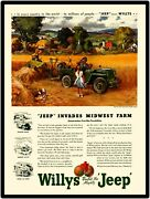 1946 Willys Jeep Go Devil Engine New Metal Sign Jeep On The Farm