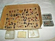 Grandpas Vintage Fly Fishing Collection Flies And Jigs 112 Items Total Some Cases