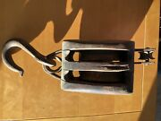 Antique Hard Wood And Iron Barn Pulley Block And Tackle Double Pully 16 Long