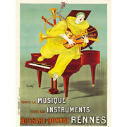 Advert Music Instrument Bossard Bonnel Clown Piano Rennes France Poster 30x40 Cm