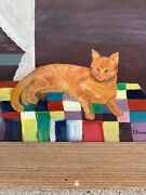 Vintage Ooak Original Oil Painting Tabby Cat Quilt Coat Of Colors Signed ❤️m17