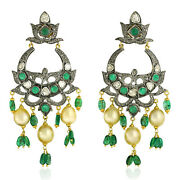 59.66ct Pearl And Emerald Chandelier Earrings 14k Gold 925 Silver Diamond Jewelry