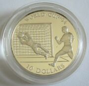 Cook Islands 10 Dollars 1992 Football World Cup In The Usa Save Silver
