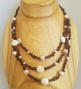 Garnet Chip And Freshwater Pearl Coin Necklace Sterling Silver Clasp Multistrand