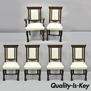6 Antique Italian Renaissance Carved Oak Wood Upholstered Dining Chairs