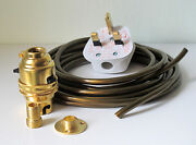 Brass Switched Lamp Holder Kit Bc Fitting Wood Nipple Base And 5 Metres Of Wire