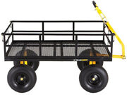 Gorilla Carts Yard Cart 1400 Lb. Heavy Duty Steel Removable Sides 15 In. Tires