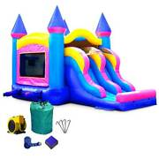 Pink Inflatable Dry Slide Commercial Bounce House And Blower Blow Up Jump Castle