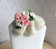 Flowers And Lace Brooch Hand Sculpted Clay Pin By Raquel From Thewrc Ooak
