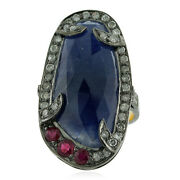 16ct Blue Sapphire Ruby Pave Diamond Cocktail Ring 18k Gold 925 Silver Jewelry