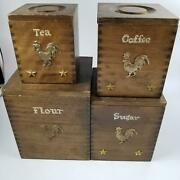 Vintage Nesting Brown Wood Rooster Stacking Canisters Coffee Tea Flour Set 4