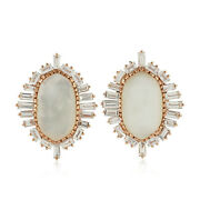 Memorial Day Gift Stud Earrings Natural Pearl Diamond 18k Gold Jewelry Ops-16213