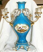 Old Herend Large Fireplace Vase With Candle Holder Elephants 1970and039s