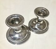 2 Vtg Rogers Sterling Silver Weighted Reinforced 3 Tall Candle Holders 3001