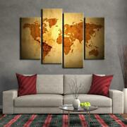 World Map Framed 4 Piece Canvas Wall Art Painting Wallpaper Poster Picture Print