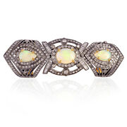 18k Gold 925 Silver 2.7ct Prong Set Opal And Diamond Cocktail Knuckle Ring Jewelry