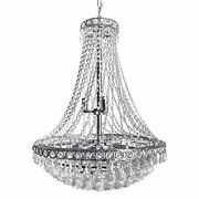 Classic Empire Tiered Crystal Chandelier - French Art Deco Style - 24 X 30