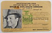 Very Rare Tony Canzoneri Boxing Great 3 Time World Champion 1930 Boxing License
