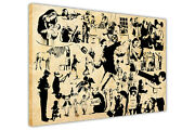 Banksy Collage Silhouette Framed Canvas Prints Wall Art Pictures Graffiti Images