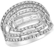 Large .96ct Diamond 18kt White Gold Round And Baguette Multi Row Anniversary Ring