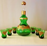 Antique Bohemian Art Glass Cabochon Gold Encrusted Decanter 6 Cordials Jeweled