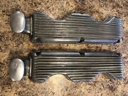 1960andrsquos Original Holmes Moon 348 409 Finned Valve Covers W/ Large Cast Breathers