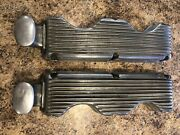 1960's Original Holmes Moon 348 409 Finned Valve Covers W/ Large Cast Breathers