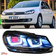 Led Headlights Drl Bi Xenon Projector Lens Dual Halo Rings Fit For Vw Golf 6 10+