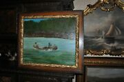 Exellent Large Old Hunters In Canoe Oil Painting