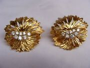 Magnificentpair Of 18k Yellow Gold Diamond Earrings By Henry Dankner 'must See'