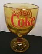 Vintage Enjoy Coca-cola Coke Goblet Amber Yellow Glass With Red Lettering Euc