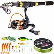 Sougayilang Telescopic Fishing Rod Reel Combos Full Kit For Travel Fast Shipping
