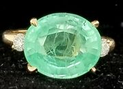 Gorgeous 14k Yellow Gold Ring 8.75ct. Gem Green Mint Colombia Emerald Oval Cut