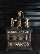 Vintage Cast Iron Organ Bank With Monkey And 2 Dogs