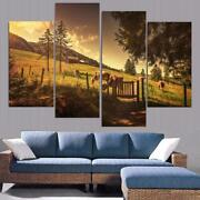 Cows On Wilderness Farm Framed 4 Piece Canvas Wall Art Painting Wallpaper Poster