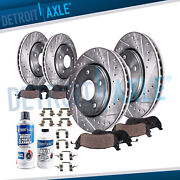 Front And Rear Drilled Slotted Rotors Brake Pads For Infiniti Ex35 Nissan 370z G37