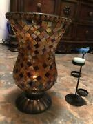 Partylite Global Fusion Mosaic Glass Hurricane Candle Holder