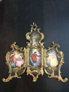 Hand-painted Enamel Miniature Antique Screen From Austria