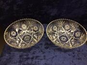 2 Vintage Eapc Anchor Hocking Star Of David Large Clear Glass Serving Bowls