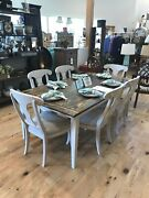 Custom Made Farmhouse Table With 6 Refurbished Ethan Allen Chairs