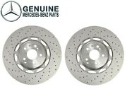 New Pair Set Of 2 Front Brake Disc Rotors Drilled Oes For Mercedes W222 C217 Amg