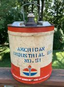 Vintage 50and039s American Standard Oil Old Tin Metal Can 5 Gallon 10x14andrdquomade In Usa
