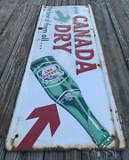 """Vintage 1925s Canada Dry Beverages Drink Metal Embossed Sign 49""""x19"""" Made In Usa"""